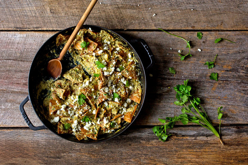 Green Chilaquiles With Eggs