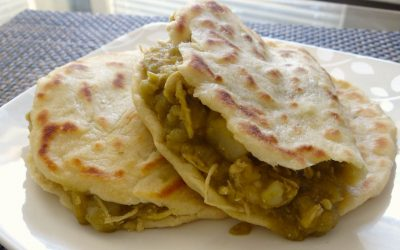 Chicken Gorditas with Potato and Green Sauce