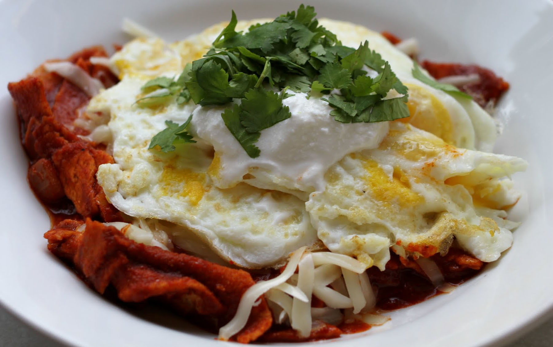 Chilaquiles con Salsa Roja - Chilaquiles with Red Salsa