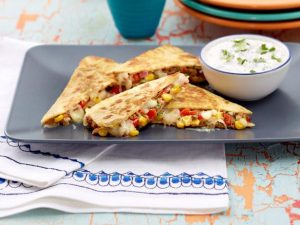 Quesadilla with Cilantro, Lime, and Sour Cream